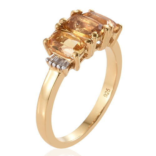 Citrine (Cush), Diamond Ring in 14k Yellow Gold Overlay Sterling Silver 1.790 Ct.