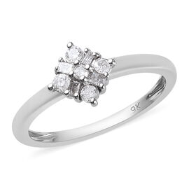 0.2 Ct Diamond Floral Ring in 9K White Gold 1.58 Grams