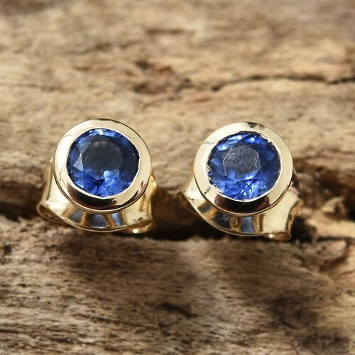 9K Yellow Gold AAA Himalayan Kyanite (Rnd) Stud Earrings (with Push Back) 0.650 Ct