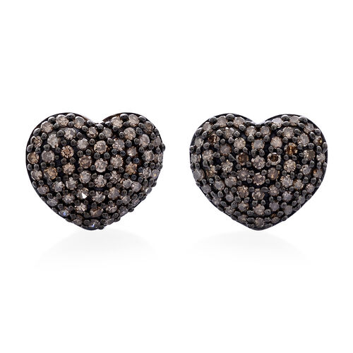 Natural Champagne Diamond (Rnd) Heart Stud Earrings (with Push Back) in Platinum Overlay Sterling Silver 1.000 Ct.