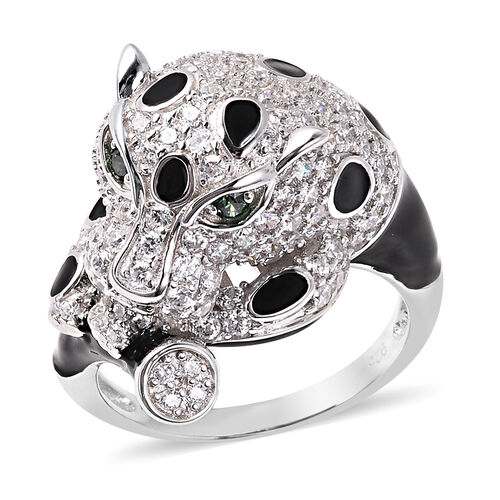 J Francis - Rhodium Overlay Sterling Silver Enamelled Panther Ring Made with Green and White SWAROVS