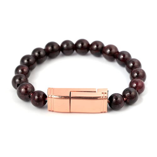 Mozambique Garnet Phone Charger Bracelet (Size 7.75) in Rose Gold Tone 75.00 Ct.