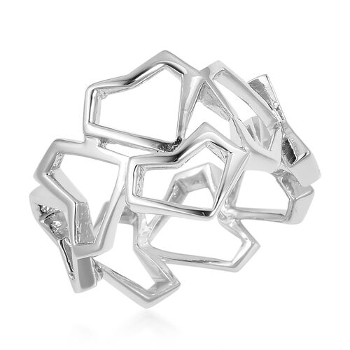 WEBEX- RACHEL GALLEY Rhodium Plated Sterling Silver Heart Ring, Silver wt 3.85 gms.