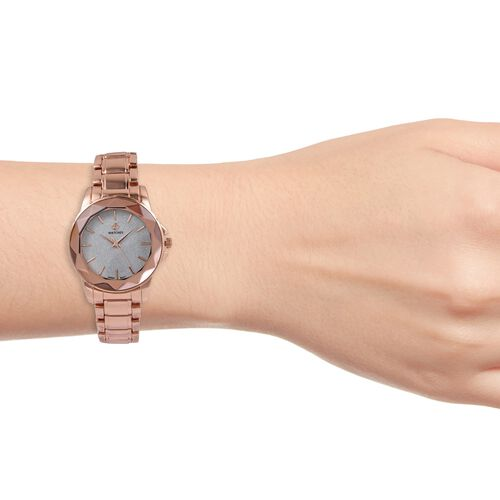 STRADA Japanese Movement Water Resistant Silver Stardust Dial Watch in Rose Gold Tone