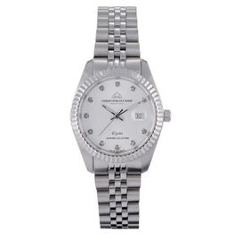 CHRISTOPHE DUCHAMP Elysees Swiss Movement White Dial Watch With Diamonds in Stainless Steel Silver S