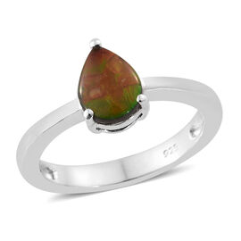 AA Canadian Ammolite (Pear 8x6 mm) Solitaire Ring (Size P) in Platinum Overlay Sterling Silver.