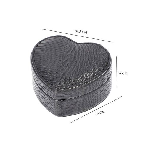 Grace Collection - Lizard Skin Pattern Heart Shaped  Anti-Tarnish Jewellery Box with Inside Mirror, Ring Rows & 2 Sections (Size 10.5x10x6cm) - Black