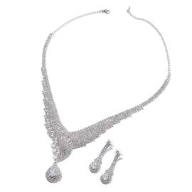 2 Piece Set - Simulated Diamond (Pear and Mrq), White Austrian Crystal Necklace (Size 16 with 5 inch