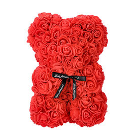 Lovely Rose Flower Bear with Bow Tie - Red