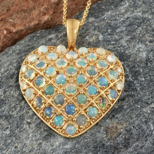 Designer Inspired- Ethiopian Welo Opal (Rnd) Heart Pendant With Chain in 14K Gold Vermeil Sterling Silver 4.250 Ct. Silver wt. 8.91 Gms.
