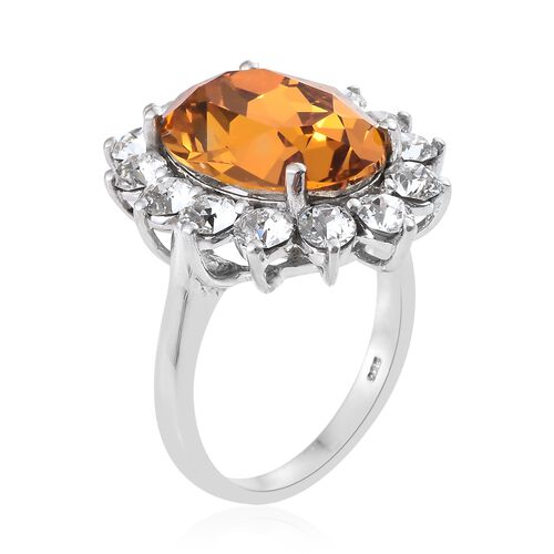 J Francis Crystal from Swarovski - Imperial Topaz Colour Crystal (Ovl 18x13mm), White Crystal Ring in Platinum Overlay Sterling Silver,