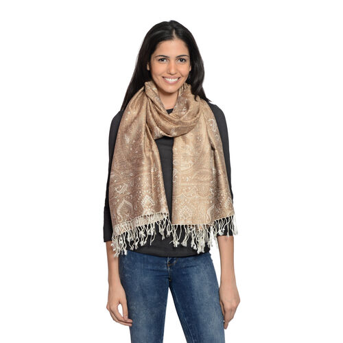 Silk Mark - 100% Super Fine Silk Beige, Chocolate and Multi Colour Floral and Paisley Pattern Silver Colour Jacquard Jamawar Scarf with Fringes (Size 180x70 Cm) (Weight 125 - 140 Gms)
