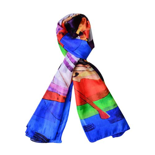 100% Mulberry Silk Blue, Red and Multi Colour Piano Art Pattern Scarf (Size 180X110 Cm)