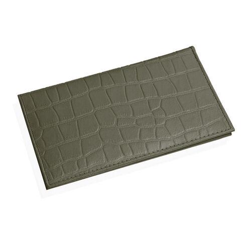 100% Genuine Leather Olive Green Colour Croc Embossed RFID Blocker Card Holder (Size 18.5x10.5 Cm)