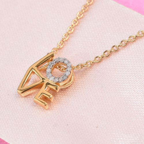 Natural Diamond (Rnd) LOVE Pendant with Chain in 14K Gold Overlay Sterling Silver 0.05 Ct.