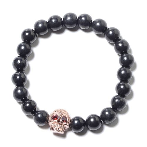 Shungite (Rnd 9-11mm), Mozambique Garnet Stretchable Skull Charm Beads Bracelet (Size 7) in Rose Gold Overlay Sterling Silver 120.70 Ct.