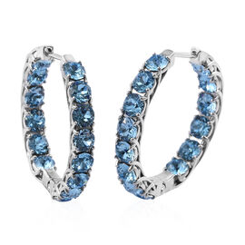 J Francis - Crystal from Swarovski Aquamarine Colour Crystal (Rnd) Hoop Earrings (with Clasp) in Silver Plated
