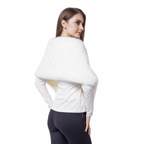 Designer Inspired - White Faux Fur Wrap (Size 135X30 Cm)
