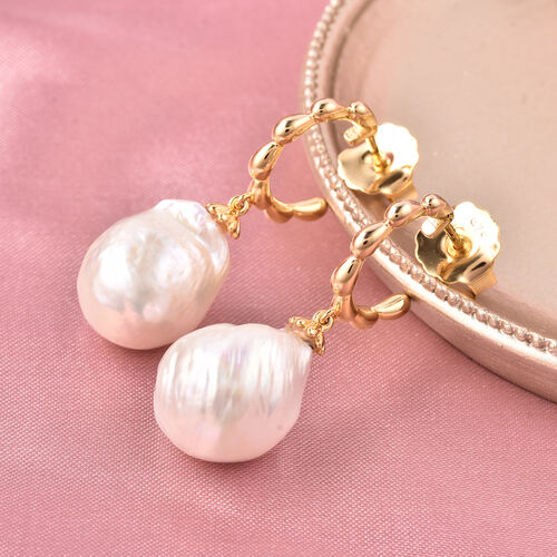 LucyQ - Freshwater White Baroque Pearl Earrings (with Push Back) in Yellow Gold Overlay Sterling Sil
