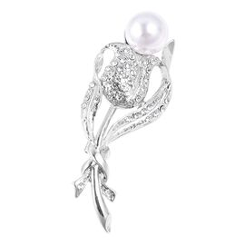 Simulated Pearl and White Austrian Crystal Brooch in Silver Plated