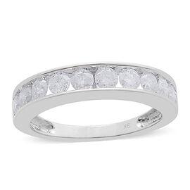 9K White Gold SGL Certified Diamond (Rnd) (I3/G-H) Half Eternity Band Ring 1.00 Ct.