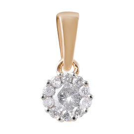 9K Yellow Gold SGL CERTIFIED Diamond (Rnd) (I3 / G-H) Pendant 0.200 Ct.