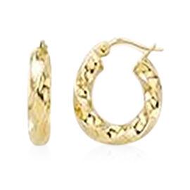9K Yellow Gold Twisted Hoop Earrings