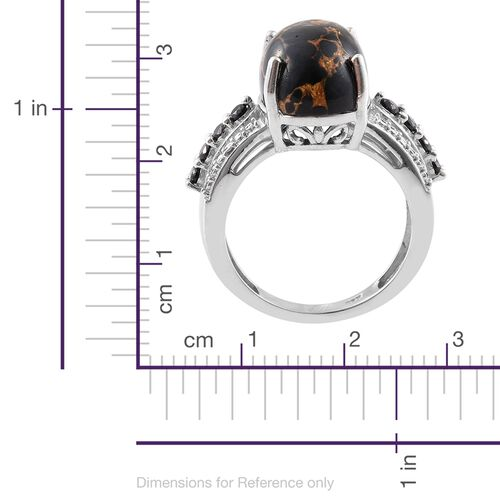 Arizona Mojave Black Turquoise (Ovl 6.00 Ct), Boi Ploi Black Spinel Ring in Platinum Overlay Sterling Silver 6.250 Ct.