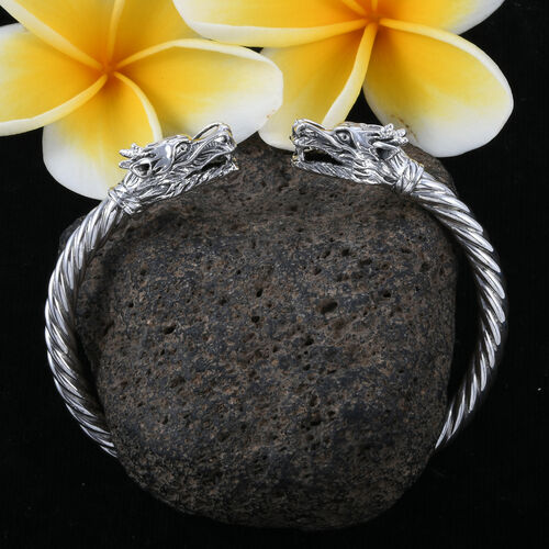 Royal Bali Collection Sterling Silver Dragon Head Bangle (Size 7.5), Silver wt 25.79 Gms.