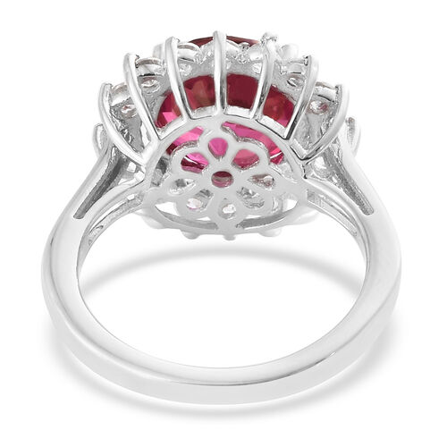 Mystic Peony Topaz (Rnd), Natural Cambodian Zircon Halo Ring in Platinum Overlay Sterling Silver 5.500 Ct.