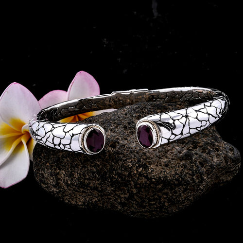 Bali Legacy Collection African Ruby (Ovl) Cuff Bangle (Size 8) in 18K Yellow Gold and Sterling Silver 7.240 Ct, Metal wt 40.00 Gms.