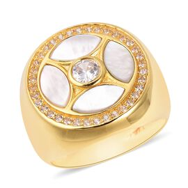 Isabella Liu White Mother of Pearl and Zircon Designer Ring in Gold Plated Sterling Silver