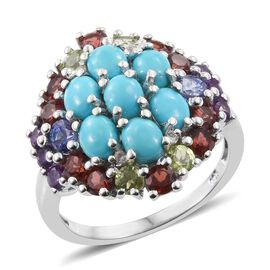 6.25 Ct Sleeping Beauty Turquoise and Multi Gemstone Cluster Ring in Platinum Plated Silver