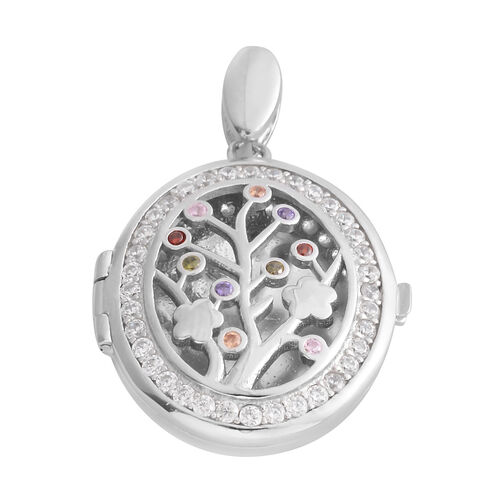 Mega Day Special Deal- ELANZA Simulated Diamond (Rnd) Tree of Life Locket Pendant in Rhodium Overlay Sterling Silver, Silver wt 6.30 Gms.