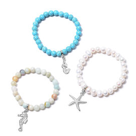 Set of 3 - Blue Howlite, Multi Colour Amazonite and White Freshwater Pearl Stretchable Beads Bracele