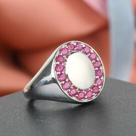 African Ruby (FF) Ring in Platinum Overlay Sterling Silver 1.060 Ct., Silver Wt. 6.00 Gms