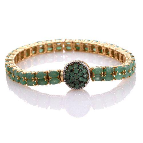 Kagem Zambian Emerald (Ovl) Bracelet (Size 7.5) in 14K Gold Overlay Sterling Silver 16.500 Ct.Silver Wt 20.01 Gms