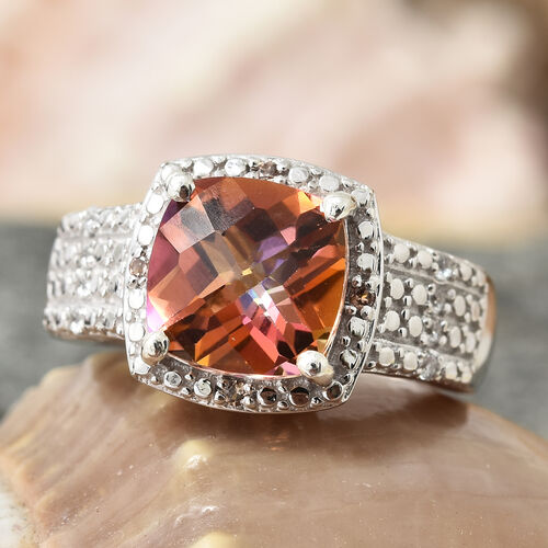 Northern Lights Ecstacy Topaz (Cush 3.35 Ct), Natural Cambodian Zircon and Brown Zircon Ring in Platinum Overlay Sterling Silver 3.500 Ct, Silver wt 5.31 Gms.