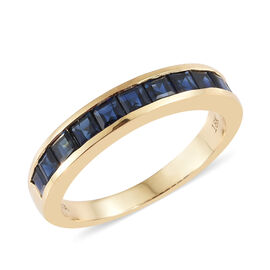 ILIANA 18K Yellow Gold AAA Kanchanaburi Blue Sapphire (Sqr) Half Eternity Ring 1.250 Ct