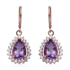 Rose De France Amethyst (Pear 5.44 Ct), Natural White Cambodian Zircon Lever Back Earrings in Rose G