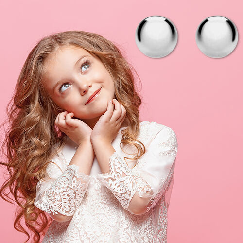 Children Ball Stud Earrings (with Push Back) in Sterling Silver