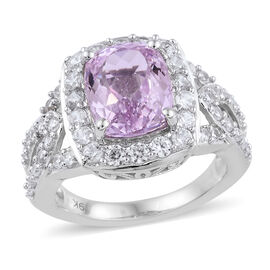 9K White Gold AA Kunzite (Cush 3.85 Ct), Natural Cambodian Zircon Ring 5.250 Ct, Gold wt 5.07 Gms.
