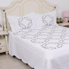 3 Piece Set - Floral Embroidery Microfibre Quilt (Size 240x260cm+2) and 2 Pillow Case (Size 50x70+5c