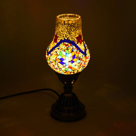 Handmade Turkish Orange & Multi Colour Glass Mosaic Table Lamp with Bronze Base (Size 28x10cm)