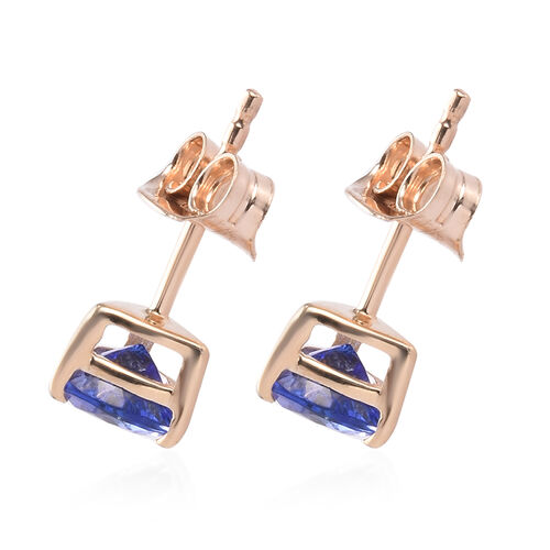 9K Yellow Gold Tanzanite Stud Earrings (with Push Back) 1.00 Ct.