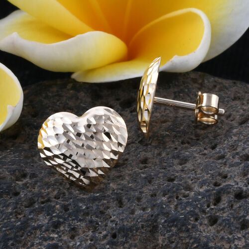 Royal Bali Collection 9K Yellow Gold Diamond Cut Heart Stud Earrings (With Push Back)