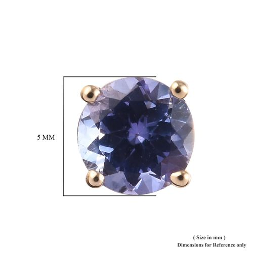 9K Yellow Gold AA A Tanzanite (Rnd) Stud Earrings (with Push Back) 1.00 Ct.