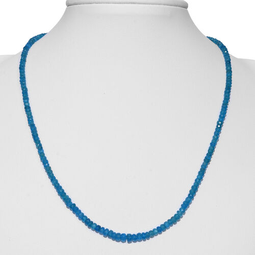 Extremely Rare Malgache Neon Apatite (Rnd) Beads Necklace (Size 18) in Rhodium Overlay Sterling Silver 50.000 Ct.