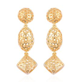 RACHEL GALLEY Yellow Gold Overlay Sterling Silver Lattice Earrings (with Push Back), Silver wt 9.39 Gms.