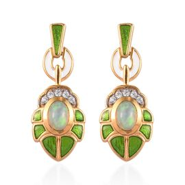 Ethiopian Welo Opal and Natural Cambodian Zircon Enamelled Earrings (with Push Back) in 14K Gold Ove